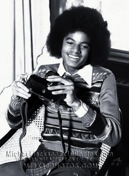 MJ with camera b&w