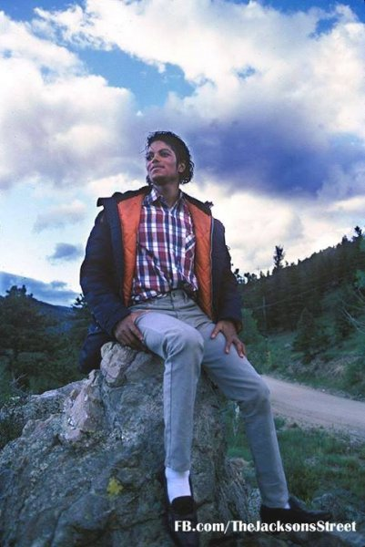 Michael in Neverland sitting on a rock
