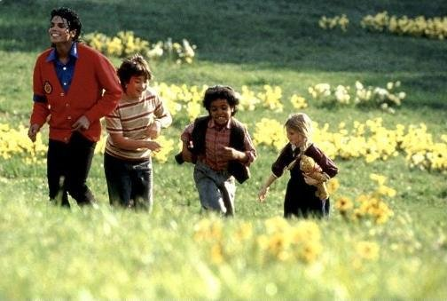 Michael with the cast of Moonwalker