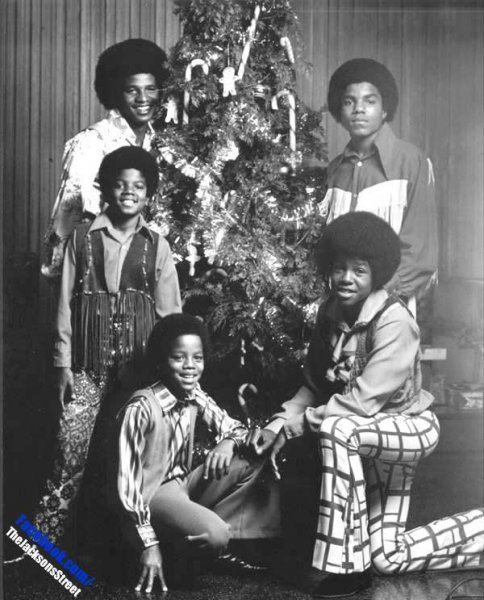 The Jackson 5 with Christmas tree b&w
