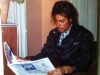 Michael reading newspaper