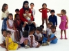 Michael posing with kids