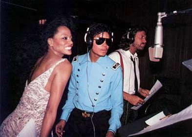 MJ Diana Ross and Barry Gibb in studio