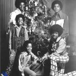 The Jackson 5 with Christmas tree b&w